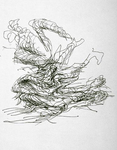 """Entwurfszeichnung zu """"Aufspringender"""" (II)"""