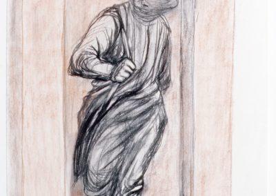 Brahms-Kontor: Entwurfszeichnung herauskommender Mann
